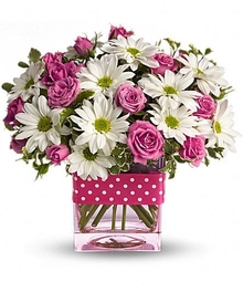 White Daisies & Hot Pink Roses - Pink Glass Vase - Same-day Delivery - Fischer Flowers